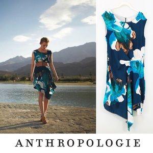 Anthropologie Coquille Silk Asymmetrical Dress